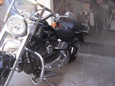 BLack 2005 Harley Davidson Fatboy Fat Boy15th Anniversay Edition (not the one for sale in the ad)