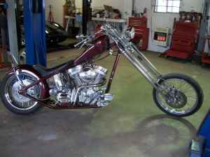 2005 Jesse James West Coast Chopper Custom Built Bike Burgundy with Ghost Flames