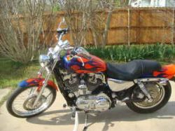 Custom 2005 Harley Davidson Sportster Orange, Blue and Black Flames Fuel Tank Paint Graphics