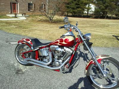 2005 Thunder Mountain Blackhawk 240  - Harley Davidson, 103 C.I Screaming Eagle with a five speed transmission, a 240 mm Rear Wheel, Sampson exhaust pipes, braided cables and custom motorcycle paint job