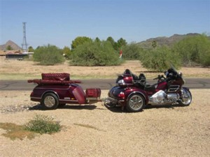 Dark Red 2006 GL1800 Honda Goldwing Trike and Trailer