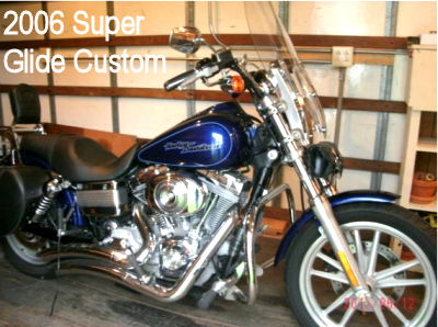 2006 Harley Super Glide Custom w cobalt blue paint color