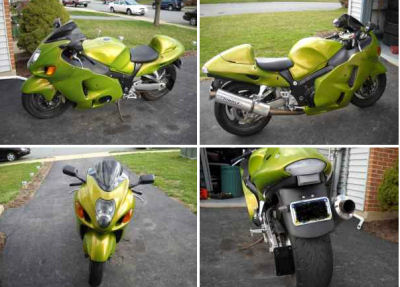 2006 Hayabusa 1300 R w hindle exhaust , lowering link, strapped front suspension, custom modifications and House of Color Pearl green paint (this photo is for example only; please contact seller for pics of the actual motorcycle for sale in this classified)
