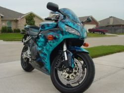 Turquoise and Black Custom Motorcycle Paint 2006 Honda CBR1000RR