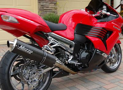 2006 Kawasaki Ninja ZX14 with red and black paint color combination (this photo is for example only; please contact seller for pics of the actual motorcycle for sale in this classified)