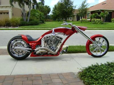 Custom 2006 PITBULL Chopper w Graphics Candy Pearl Tangerine House of Colors Paint