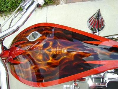 Custom 2006 PITBULL Chopper Fuel Tank Artwork Graphics Candy Pearl Tangerine House of Colors Paint with Skull on Fire Mural