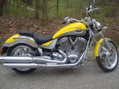 2006 Victory Vegas 100 cu inch, 1634 cc engine and a  6 speed OD transmission (this motorcycle is for example only; please contact seller for pics of the actual motorcycle for sale)
