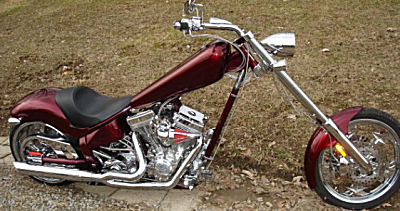 Custom 2007 American Ironhorse Texas Chopper Motorcycle w black cherry paint , S&S 111 motor, Baker 6 speed right side transmission, and Softtail with a factory installed air ride suspension system (this photo is for example only; please contact seller for pics of the actual motorcycle for sale in this classified)