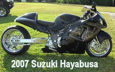 2007 suzuki hayabusa Gunpowder Gray w Trac Dynamics Swingarm, Chrome Performance Machine Wheels
