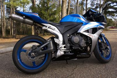 Royal Cobalt Blue and Silver 2007 Honda CBR 600RR w Blue Powder-Coat Rims (this photo is for example only; please contact seller for pics of the actual motorcycle for sale in this classified)