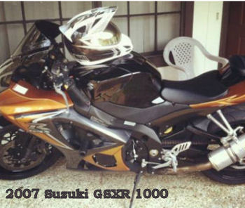 2007 Suzuki GSXR 1000 motorcycle with a custom gold and brown two tone paint job