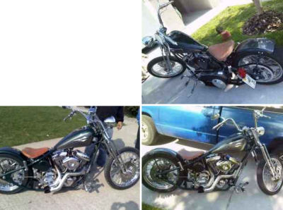 2 TONE METALLIC GREEN and SILVER 2008 CUSTOM CHOPPER OLD SCHOOL BOBBER HARDTAIL w 5 SPEED TRANSMISSION 120 CC S&S SPRINGER FRONT END