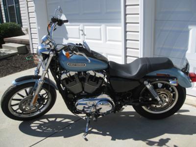 Vivid black and blue pearl 2008 harley davidson sportster 1200 xl low