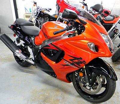 Orange 2008 Suzuki Hayabusa GSXR1300 with display lights