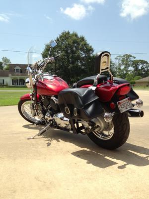 Red 2008 Yamaha V Star Custom 650 with Flames Graphics