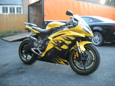 2008 Yamaha YZF-R6  For Sale in Houston TX Texas Bright Yellow Paint with flames graphics