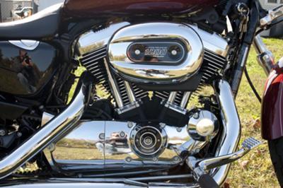 Maroon 2009 Harley Davidson Sportster Low 1200 Engine