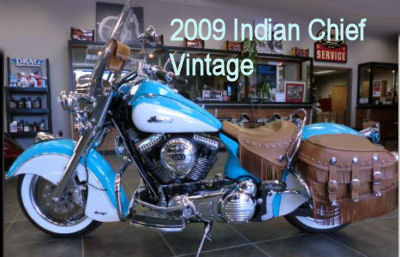 2009 Indian Chief Vintage W Turquoise And Winter White Paint Color Schem