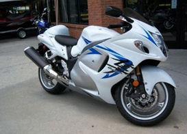 2009 suzuki hayabusa motorcycle white blue gsxr1300