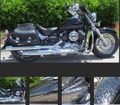 2009 Yamaha Vstar Silverado Classic with a custom black & Silver filigree motorcycle paint job