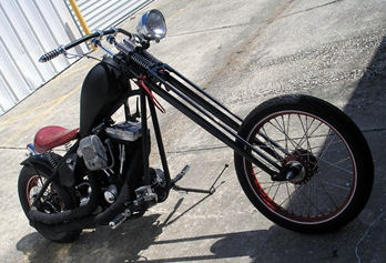 Custom 2010 Harley Davidson Old School Chopper  3.4 degree rake rigid frame, an 80 cubic inch, 1340 cc Harley Evolution Engine, a five speed 3.35 inch open primary, a custom jockey shifter with hand clutch and a handmade fuel tank and fender
