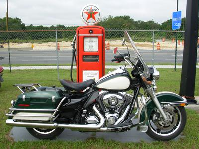 2011  FLHR-P, Harley Davidson, Road King Police Motorcycle with green and black paint color