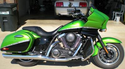 2012 Kawasaki Vulcan Vaquero w Candy Lime Green and Black paint (this motorcycle is for example only; please contact seller for pics of the actual bike for sale)