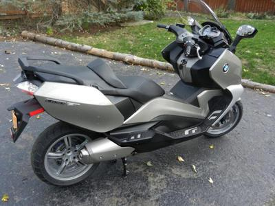 Silver BMW C650GT 647cc scooter (this photo is for example only; please contact seller for pics of the actual motorcycle for sale in this classified)