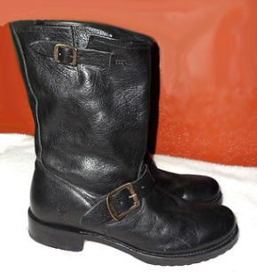 Frye Lady Biker Short Leather Motorcycle Riding Boots