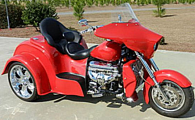 Corvette Red Boss Hoss Chevy Trike w 385 HP ZZ 350 Chevy engine with factory cam kit, a 32 Coupe body style with trunk