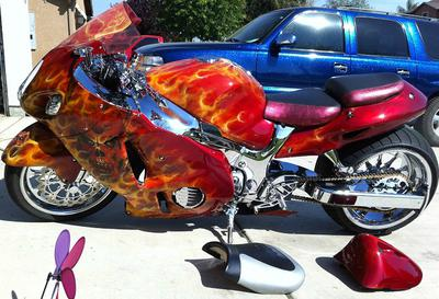 Custom 2004 Suzuki Hayabusa Motorcycle w custom red and orange paint job with Red and Orange flames and burning skulls (this photo is for example only; please contact seller for pics of the actual street bike for sale in this classified)