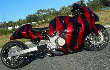 Custom 2008 Suzuki Hayabusa with black and Kandy Red color paint job