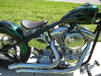 CUSTOM BOBBER,POWDERCOATED FRAME AND WHEELS,SPRINGER FRONT END,BILLET CONTROLS,100CC,110HP REV TECH ENGINE EXHAUST