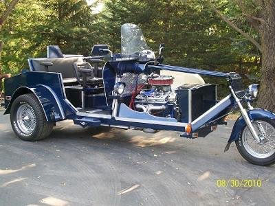 Custom built V8 Trike Chevy HO 330+ HP motor, Vortex heads, a new rebuilt 350 transmission with Promatic 2 Turbo shifter (this photo is for example only; please contact seller for pics of the actual motorcycle for sale in this classified)