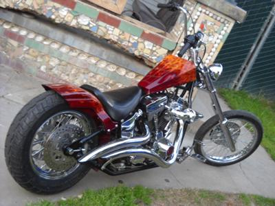 Custom Harley Chopper Rear Fender Wheel and Exhaust