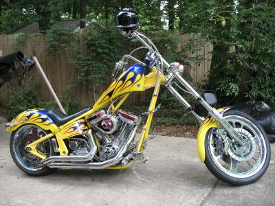 2003 Custom Hot Rod Chopper Yellow, Royal  and Cobalt BlueTribal Flame Tank Art and Fender Graphics
