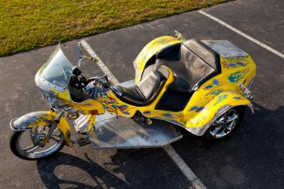 Custom Bright Yellow Trike w 1600 Volkswagen Engine and Harley Davidson motorcycle components featured in Full Throttle Magazine