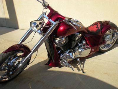 CANDY RED Custom Pro street Chopper HONDA VTX1800 Bike Week Build w custom paint and graphics