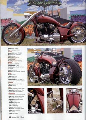 Picture of the Custom Pro street Chopper in Vtwin Magazine
