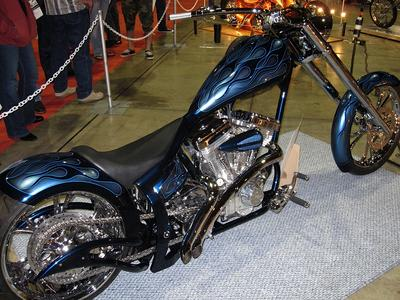 Show Winning Pro Built Custom Softail Chopper with beautiful blue silver and black paint color scheme