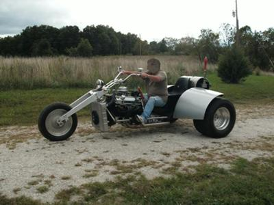 Custom V8 Trike w Wide Rear Tires Stainless Steel Frame and Custom Front Fork
