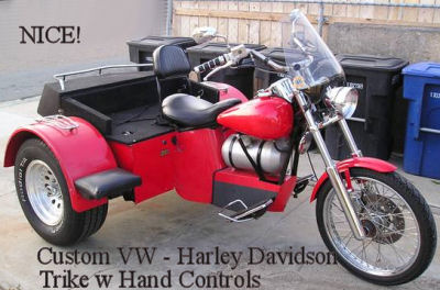Custom Built VW Trike Three Wheel Motorcycle with Hand Controls and Automatic Transmission