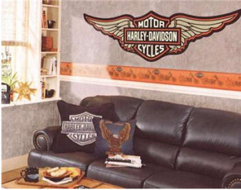 harley davidson wall decals stickers logo emblem wallpaper border