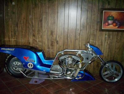 COMPLETE CUSTOM BUILT 120 CU IN NITRO HARLEY DRAG RACING BIKE