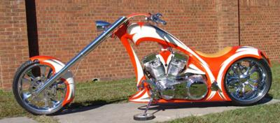 Orange and White HIGH END CHOPPER (this photo is for example only; please contact seller for pics of the actual custom chopper motorcycle for sale in this classified)