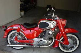 custom 1965 Honda CA77 305 Dream motorcycle red