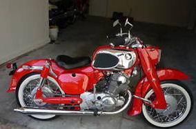custom 1965 Honda CA77 305 Dream motorcycle red