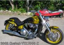 2002 honda vtx 1800 motorcycle black and gold custom customized metallic paint