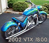 2002 honda vtx 1800 motorcycle electric blue